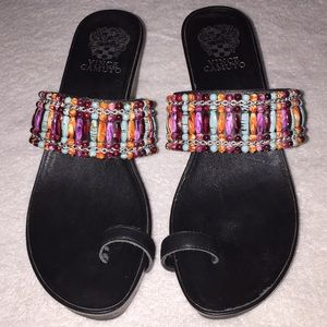 Vince Camuto beaded heel sandals, size 8 1/2.